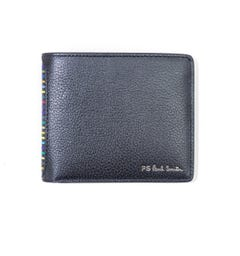 PS Paul Smith Stripe Leather Bi Fold Wallet - Black