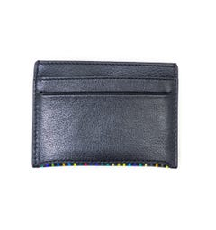 PS Paul Smith Stripe Leather Card Holder - Black