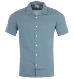 PS Paul Smith Linen Casual Fit Short Sleeve Shirt - Blue