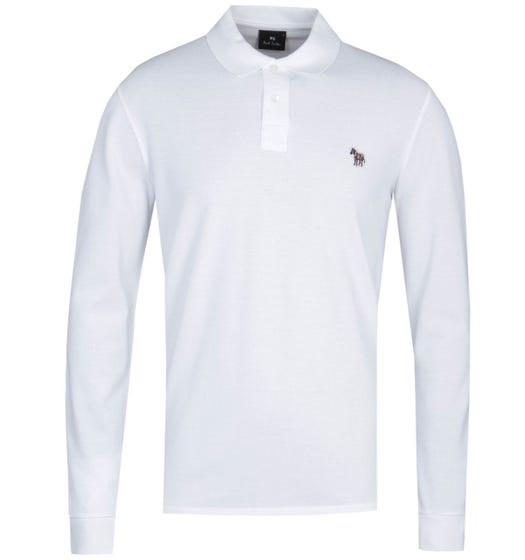 PS Paul Smith Regular Fit Long Sleeve White Polo Shirt