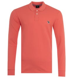 PS Paul Smith Organic Cotton Long Sleeve Polo Shirt - Coral