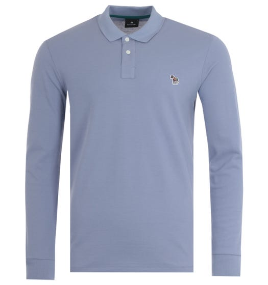 PS Paul Smith Organic Cotton Long Sleeve Polo Shirt - Lilac