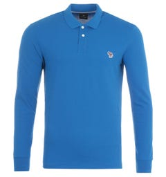 PS Paul Smith Organic Cotton Long Sleeve Polo Shirt - Blue