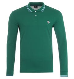 PS Paul Smith Twin Tipped Long Sleeve Polo Shirt - Green