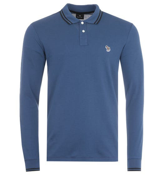 PS Paul Smith Twin Tipped Long Sleeve Polo Shirt - Blue