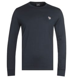 PS Paul Smith Long Sleeve Zebra Logo Navy T-Shirt