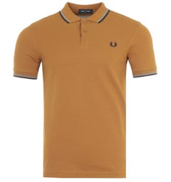 Fred Perry M3600 Twin Tipped Polo Shirt - Dark Caramel & Blue