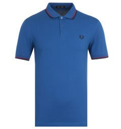 Fred Perry M3600 Twin Tipped Royal Blue & Rosso Polo Shirt