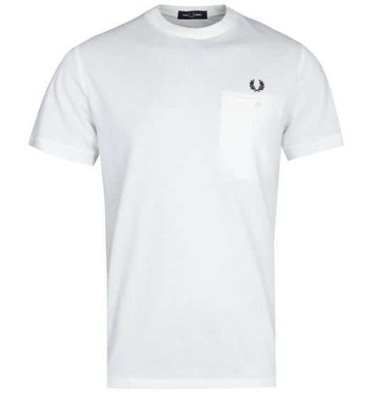 Fred Perry Pocket Detail White Pique T-Shirt