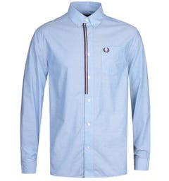 Fred Perry Taped Placket Blue Long Sleeve Shirt