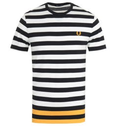 Fred Perry Bold Stripe Black Pique T-Shirt