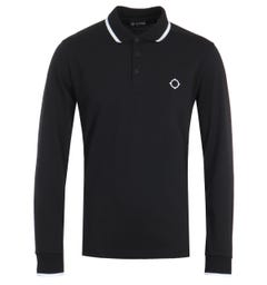 MA.Strum Jersey Long Sleeve Polo Shirt - Jet Black