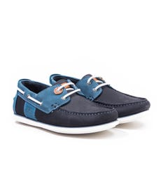 Barbour Capstan Leather Boat Shoes - Double Blue