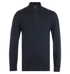 Barbour Navy Zip Neck Cotton Sweater