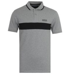 Barbour International Block Stripe Grey Polo Shirt