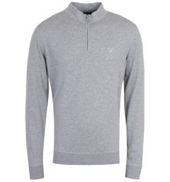Barbour Batten Grey Marl Zip Neck Sweatshirt