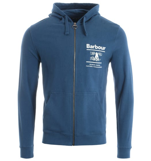 Barbour Reed Zip Through Hooded Sweatshirt - Blue