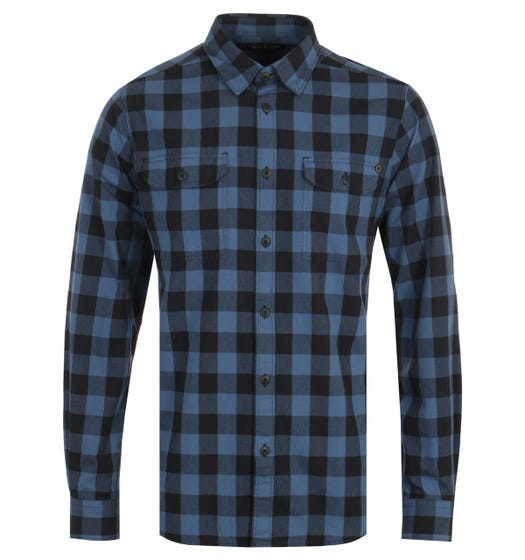 Barbour International Bold Block Check Shirt - Mid Blue