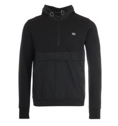 Tommy Hilfiger Essentials Mixed Quarter Zip Hooded Sweatshirt - Black