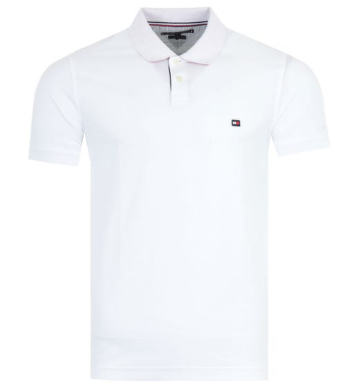 Tommy Hilfiger 1985 Contrast Placket Slim Fit Polo Shirt - White