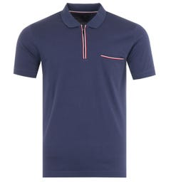 Tommy Hilfiger Tipped Zip Slim Fit Polo Shirt - Yale Navy