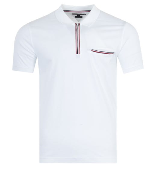 Tommy Hilfiger Tipped Zip Slim Fit Polo Shirt - White