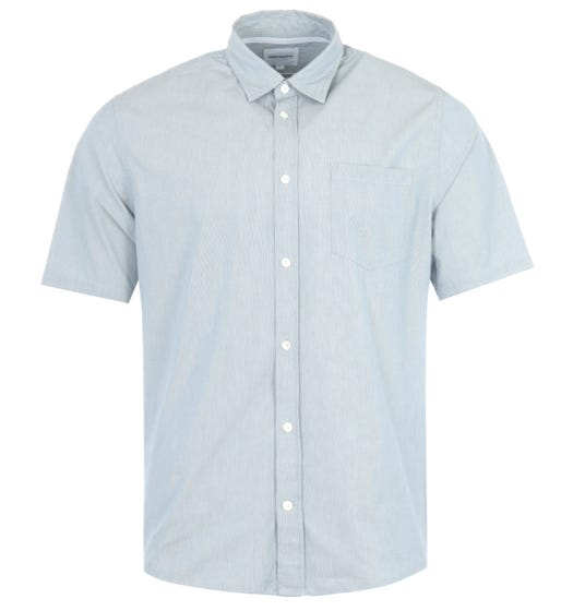 Norse Projects Osvald Stripe Short Sleeve Shirt - Blue