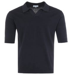 Norse Projects Leif Cotton Linen Polo Shirt - Dark Navy