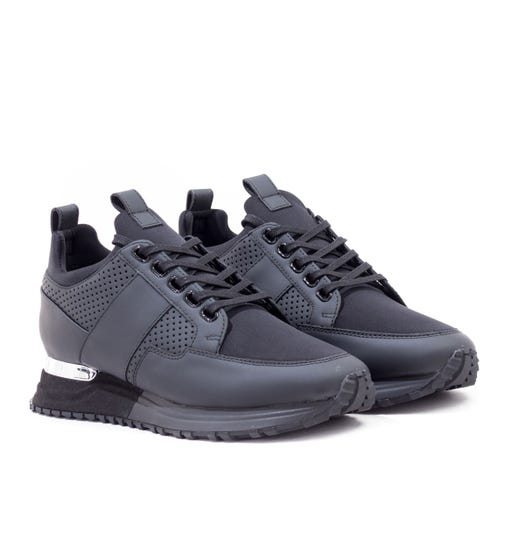 Mallet Southgate Midnight Black Leather Trainers