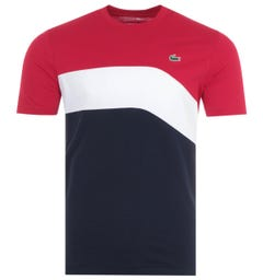 Lacoste Sport Tricolour T-Shirt - Red, White & Navy