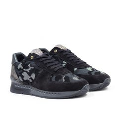 Unlike Humans Surge Runner Particle Camo Trainers - Black & Grey