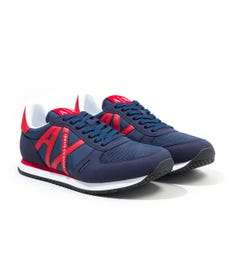 Armani Exchange Logo Trainers - Navy & Red