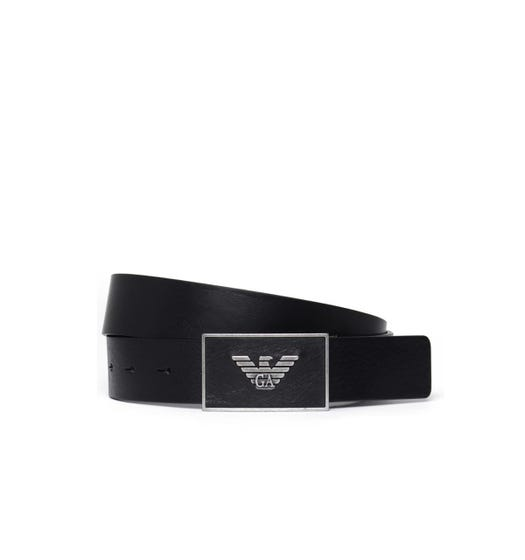 Emporio Armani Eagle Buckle Belt - Black
