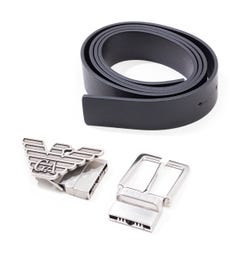 Emporio Armani Changeable Buckle Black Leather Belt