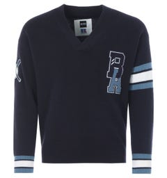 BOSS x Russell Athletic Exclusive Logo Wool Varsity Sweater - Navy