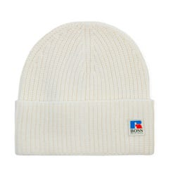 BOSS x Russell Athletic Wool Ribbed Beanie - White