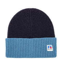 BOSS x Russell Athletic Wool Ribbed Beanie - Navy & Blue