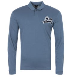 BOSS x Russell Athletic Exclusive Logo Slim Fit Long Sleeve Polo Shirt - Blue