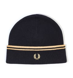 Fred Perry Twin Tipped Wool Blend Beanie Hat - Black