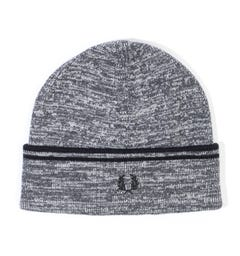 Fred Perry Twin Tipped Wool Blend Beanie Hat - Grey