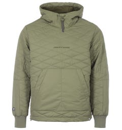 Pretty Green x Umbro Diamond Quilted Hooded Pullover - Khaki