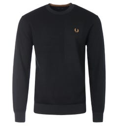 Fred Perry Textured Merino Wool Sweater - Black