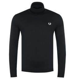 Fred Perry Black Roll Neck Sweater