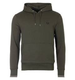 Fred Perry Tipped Hooded Sweatshirt - Hunting Green