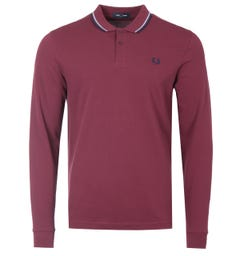 Fred Perry M3636 Twin Tipped Long Sleeve Polo Shirt - Aubergine