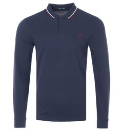 Fred Perry M3636 Twin Tipped Long Sleeve Polo Shirt - Carbon Blue