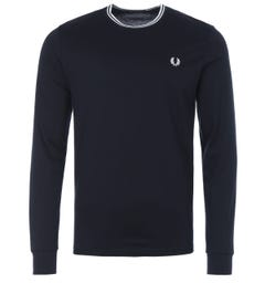 Fred Perry Twin Tipped Long Sleeve T-Shirt - Navy